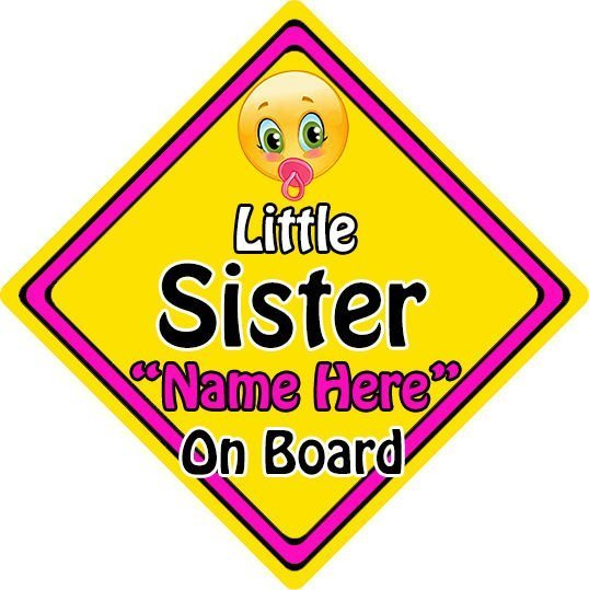 Personalised-ChildBaby-On-Board-Emoji-Car-Sign-Little-Sister-On-Board-152397150206