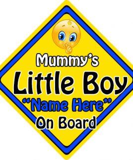 Personalised Child Baby On Board Emoji Car Sign Mummys Little Boy On Board
