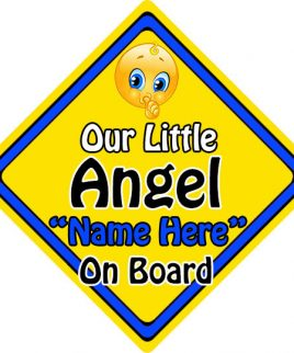 Personalised Child Baby On Board Emoji Car Sign Our Little Angel On Board