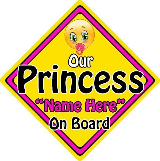 Personalised-ChildBaby-On-Board-Emoji-Car-Sign-Our-Princess-On-Board-152397167136