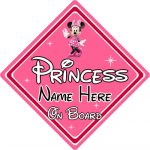 Personalised Disney Princess On Board Car Sign - Baby On Board - Minnie Mouse