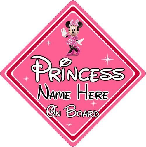 Personalised-Disney-Princess-On-Board-Car-Sign-Baby-On-Board-Minnie-Mouse-152125190126