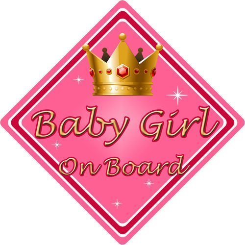 Non Personalised Child//Baby On Board Emoji Car Sign ~ Baby On Board ~ Girl Pink