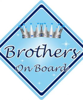 Child Baby On Board Car Sign Brothers On Board Light Blue