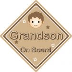 Non Personalised Child/Baby On Board Car Sign ~ Grandson On Board ~ Brown