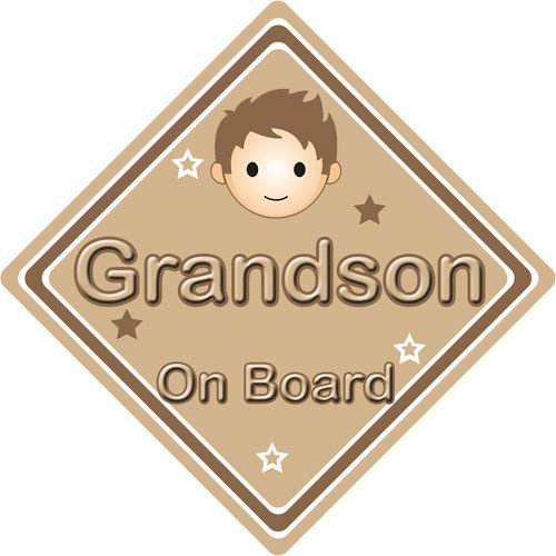 Non-Personalised-ChildBaby-On-Board-Car-Sign-Grandson-On-Board-Brown-152316190687