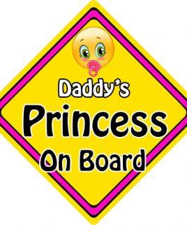 Child Baby On Board Emoji Car Sign Daddys Princess On Board
