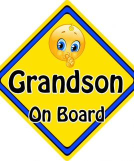 Child Baby On Board Emoji Car Sign Grandson On Board