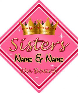 Personalised Child Baby On Board Car Sign Sisters On Board Pink