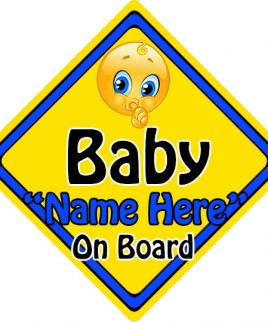 Personalised Child Baby On Board Emoji Car Sign Baby On Board