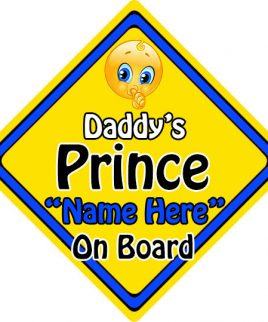 Personalised Child Baby On Board Emoji Car Sign Daddys Prince On Board