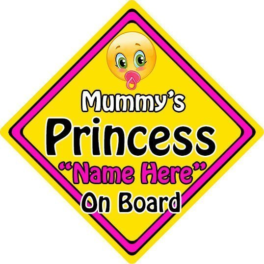 Personalised-ChildBaby-On-Board-Emoji-Car-Sign-Mummys-Princess-On-Board-152397154247