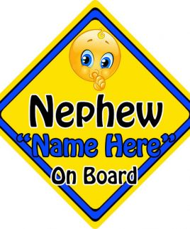 Personalised Child Baby On Board Emoji Car Sign Nephew On Board
