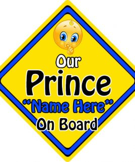 Personalised Child Baby On Board Emoji Car Sign Our Prince On Board