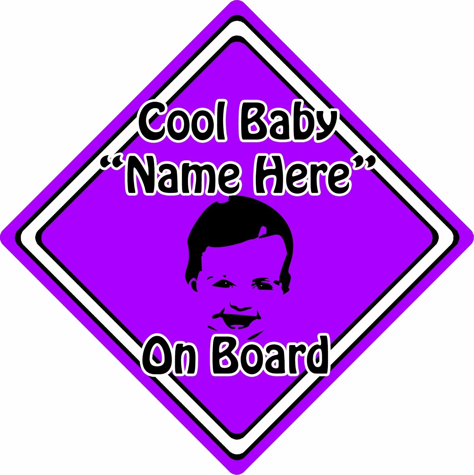 Personalised-Cool-BabyChild-On-Board-Car-Sign-Baby-Face-Silhouette-Purple-152406127947