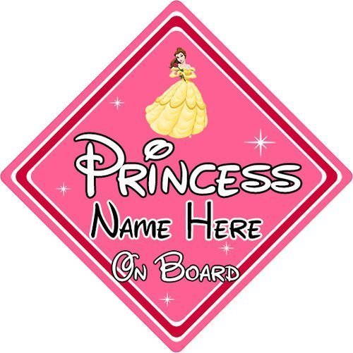 Personalised-Disney-Princess-On-Board-Car-Sign-Belle-From-Beauty-The-Beast-152125173227
