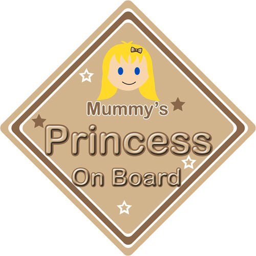 Non Personalised Child//Baby On Board Car Sign ~ Mummys Princess On Board ~ Pink