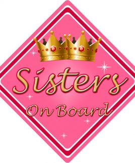 Sisters on Board Car Sign for Children//Baby Girls Non Personalised Character Theme