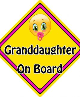 Child Baby On Board Emoji Car Sign Granddaughter On Board