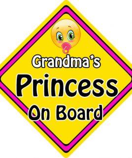 Child Baby On Board Emoji Car Sign Grandmas Princess On Board