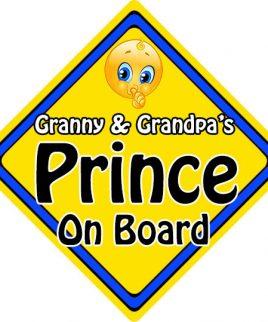 Child Baby On Board Emoji Car Sign Granny & Grandpas Prince On Board