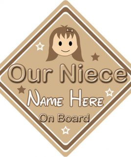 Personalised Child Baby On Board Car Sign Our Niece On Board Brown Hair Girl