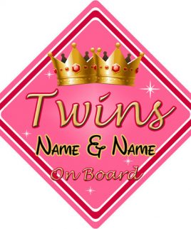 Personalised Child Baby On Board Car Sign Twins On Board Pink