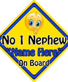 Personalised Child Baby On Board Emoji Car Sign Number One Nephew On Board