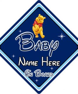 Personalised Baby On Board Car Sign Disney Pixar Winnie the Pooh DB