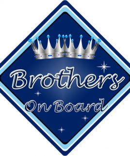 Child Baby On Board Car Sign Brothers On Board Dark Blue