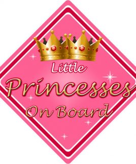 Child Baby On Board Car Sign Little Princesses On Board Pink
