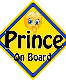 Child Baby On Board Emoji Car Sign Prince On Board