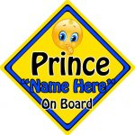 Personalised Child/Baby On Board Emoji Car Sign ~ Prince On Board