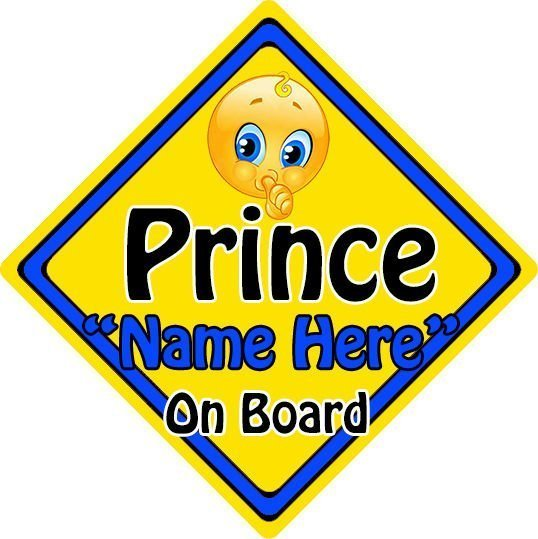 Personalised-ChildBaby-On-Board-Emoji-Car-Sign-Prince-On-Board-152397168059