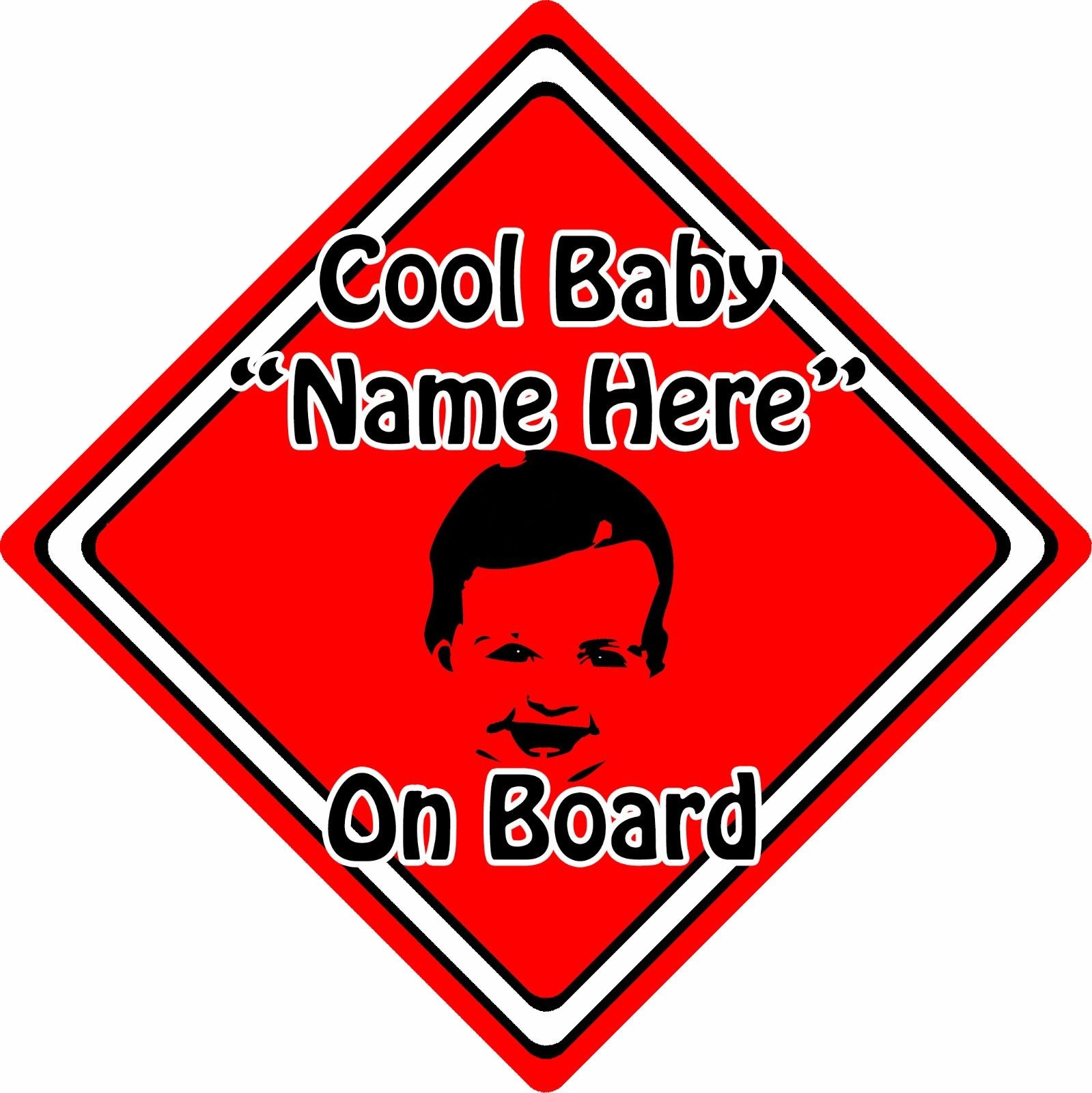 Personalised-Cool-BabyChild-On-Board-Car-Sign-Baby-Face-Silhouette-Red-152406128979